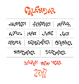 hand written year month names vector image