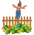 Scarecrow in the garden vector image