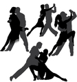 Couple dancing tango silhouette set vector image