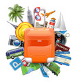 travel concept with rolling bag vector image