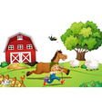 Farmer and horse vector image vector image