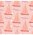 Wedding seamless pattern with sailing yacht vector image