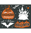 Collection of silhouettes of Halloween symbols vector image