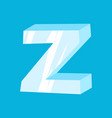 Letter z ice font icicles alphabet freeze vector image