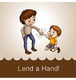 Man holding a boys hand vector image