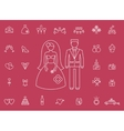 Marriage bridal icons in modern line style vector image