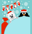 new year background card with penguin and bear vector image