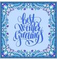 best winter greetings blue handwritten lettering vector image