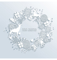 White Merry Christmas wreath greeting card vector image