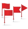 Set of red pin flags vector image vector image