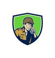 World War Two American Soldier Talk Radio Shield vector image vector image