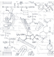Seamless pattern of the formulas on the chemicals vector image vector image
