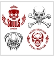 Set of emblems with skulls vector image vector image