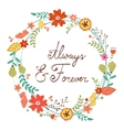 Beautiful greeting card with floral wreath vector image