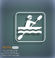 canoeing icon On the blue-green abstract vector image