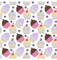 cupcakes seamless pattern with polka dots vector image