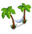 hammock hanging between two palm trees vector image