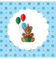 Teddy bear in cap with balloons and gift vector image