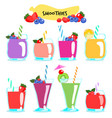 many kind of healthy and delicious smoothies vector image