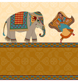 dancing indian woman elephant and border vector image vector image