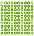100 patisserie icons hexagon green vector image