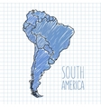 pen hand drawn South America map on paper vector image