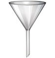 Glass funnel on white vector image