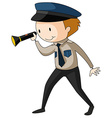 Security guard holding flashlight vector image