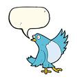 cartoon dancing bluebird with speech bubble vector image
