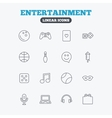 Entertainment icons Game joystick microphone vector image