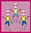 three skulls dancing vector image