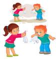 Little girl giving a handkerchief to a boy vector image
