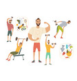people workout with sports equipments exercises vector image
