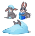 Playful hare frozen in the snow three images vector image