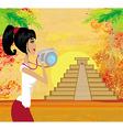 tourist photographs Mayan Pyramid vector image