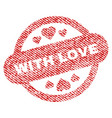 with love stamp seal fabric textured icon vector image