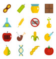 gmo icons set in flat style vector image