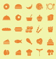 Food color icons on yellow background vector image