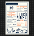 Retro Frame restaurant lunch menu design layout vector image