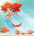 Young mermaid with background vector image