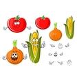 Happy cartoon onion tomato and corn vector image