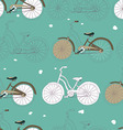 Seamless pattern with vintage bicycles vector image