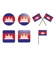 badges with flag of Cambodia vector image vector image