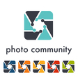 Camera objective shutter icon vector image