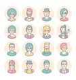 Creative set of round avatars Thin lines vector image