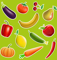 Fruits and vegetables in the form of stickers vector image