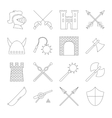 Medieval outline icons set vector image