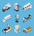 metalworking machines isometric set vector image