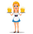 oktoberfest with sexy redhead girl holding six vector image