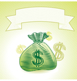 bag with money - banner in engraving style vector image vector image